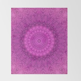 Sunflower Peacock Feather Bohemian Pattern \\ Aesthetic Vintage \\  Bright Fuchsia Pink Color Scheme Throw Blanket