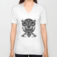 egyptian V-neck T-shirts featuring Baby Egyptian Owl by Rachel Caldwell