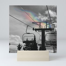 4 Seat Chair Lift Rainbow Sky B&W Mini Art Print