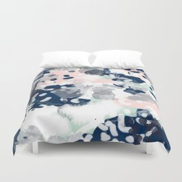 Melia - abstract minimal painting acrylic watercolor nursery mint navy pink Duvet Cover