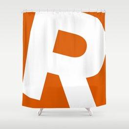 Sans Serif R. White on Red Orange. Shower Curtain