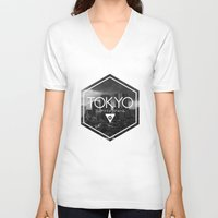 tokyo V-neck T-shirts featuring TOKYO by ELECTRICBLOOM