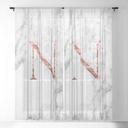 Monogram rose gold marble N Sheer Curtain