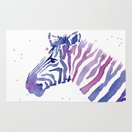 Zebra Watercolor Purple Stripes Animal Rug
