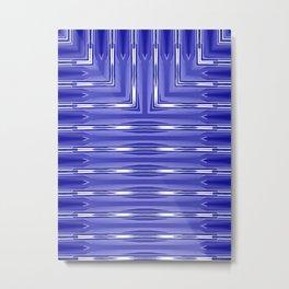 Art Deco Royal Blue Spear Pattern Metal Print