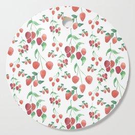 Watercolor Strawberries Cutting Board