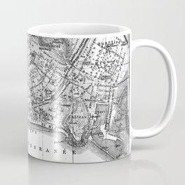 Vintage Map of Nice France (1914) BW Coffee Mug