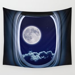 Airplane window with Moon, porthole #3 Wall Tapestry