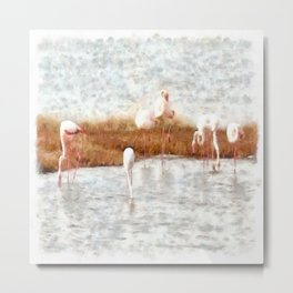 Seven Flamingos A Feeding Watercolor Metal Print