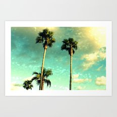 Palm Trees Heart Bokeh Art Print