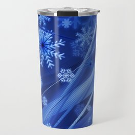 Blue Snowflakes Winter Travel Mug
