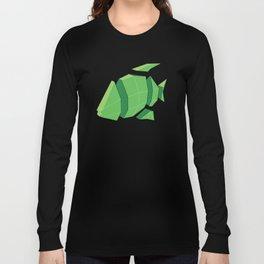 Illustration of a 3D Paper Craft Fish Model Long Sleeve T-shirt
