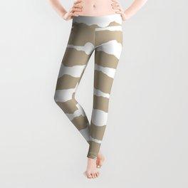 Macramé Stripes Minimalist Pattern in White and Neutral Flax Leggings
