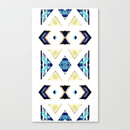 Geometric Rug in Gold, Black and Blue Canvas Print