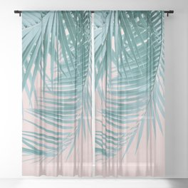Palm Leaves Blush Summer Vibes #3 #tropical #decor #art #society6 Sheer Curtain
