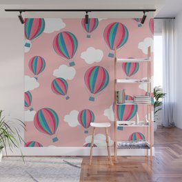 Hot air balloons and clouds - baby pink Wall Mural