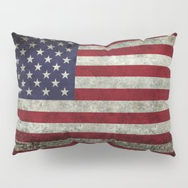 American Flag, Old Glory in dark worn grunge Pillow Sham