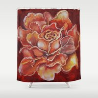 agnes Shower Curtains featuring Agnes Red Rose by notredame777