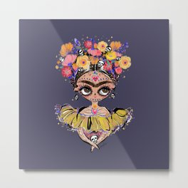 Frida Mexican Skull Metal Print