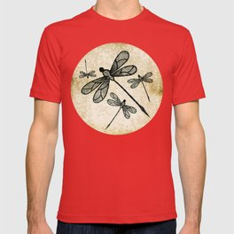Dragonflies on tan texture T-shirt