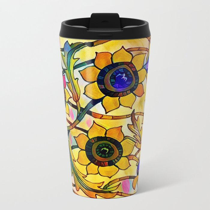 Sunny Sunflowers Metal Travel Mug