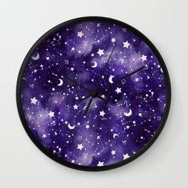 Zodiac Watercolor Ultraviolet Wall Clock