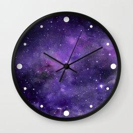 Purple Watercolor Space Pattern Wall Clock