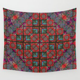 number 159 red dark green pattern Wall Tapestry