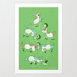 Angry Unicorns Art Print