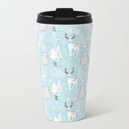 From Mice Bears Deers And Christmas-Cute teal X-Mas Pattern Metal Travel Mug