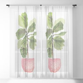 Fiddle-Leaf Fig (Watercolor) Sheer Curtain