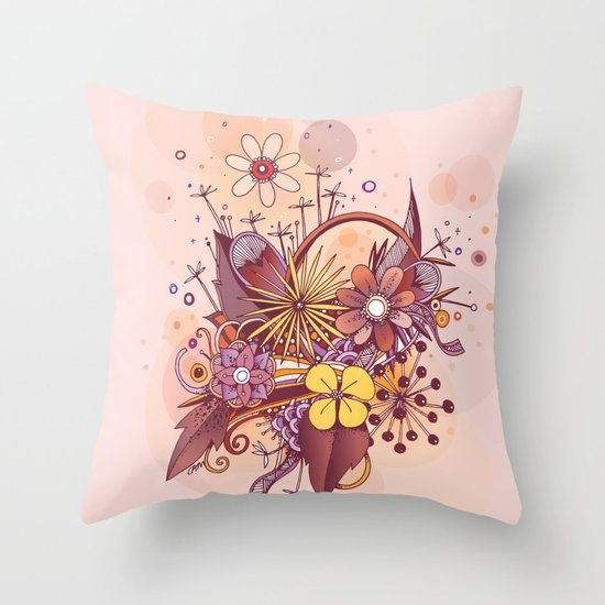 Zentangle, summer rose pink, purple doodle Throw Pillow