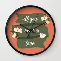 all you need is love Wall Clocks featuring All you need is love by Juliana RW