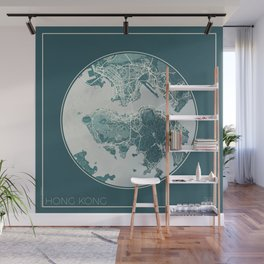 Hong Kong Map Planet Wall Mural