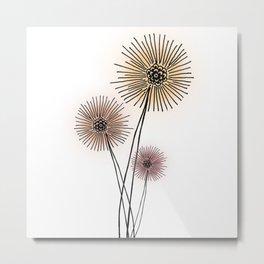 Coral pink Dandelion Metal Print