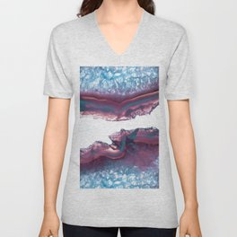 Double Light Blue and Pink Agate Unisex V-Neck