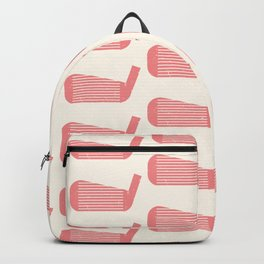 Golf Club Head Vintage Pattern (Beige/Pink) Backpack