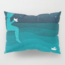 Boy with paper boats, watercolor teal art Pillow Sham