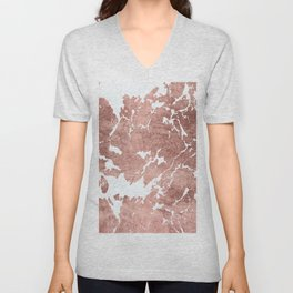 Stylish white rose gold modern marble Unisex V-Neck