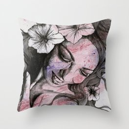 In The Year Of Our Lord (smiling flower lady portrait) Throw Pillow