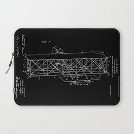 Wright Brothers Patent: Flying Machine - White on Black Laptop Sleeve