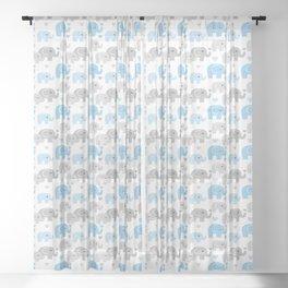 Blue Gray Elephant Baby Boy Nursery Sheer Curtain