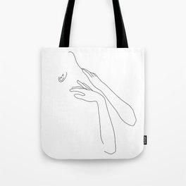 Hands on neck line drawing illustration - Jody Tote Bag