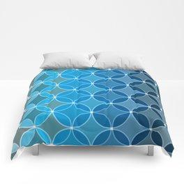 Diamond Fluer Fancy Textile Pattern in Blues Comforters