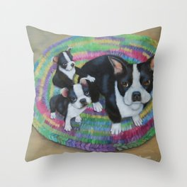 Boston Terrier and Puppies Throw Pillow
