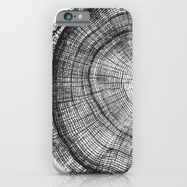 Detailed black and white reclaimed wood tree with circle growth rings pattern iPhone Case