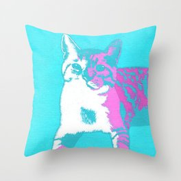 Two Toned Neon Cat Throw Pillow