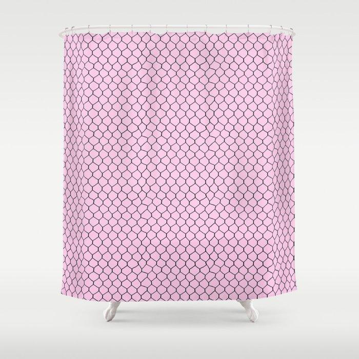 Chicken Wire Blush Shower Curtain