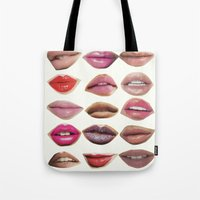 lips Tote Bags featuring Lips by Emily Kenney