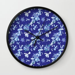 Orchids in a blue night Wall Clock